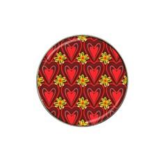 Digitally Created Seamless Love Heart Pattern Hat Clip Ball Marker (10 Pack)