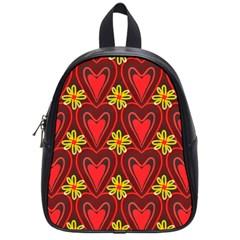 Digitally Created Seamless Love Heart Pattern School Bags (small)  by Nexatart