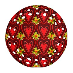 Digitally Created Seamless Love Heart Pattern Round Filigree Ornament (two Sides) by Nexatart