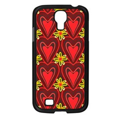 Digitally Created Seamless Love Heart Pattern Samsung Galaxy S4 I9500/ I9505 Case (black) by Nexatart