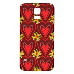 Digitally Created Seamless Love Heart Pattern Samsung Galaxy S5 Back Case (white) by Nexatart