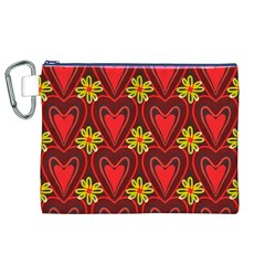 Digitally Created Seamless Love Heart Pattern Canvas Cosmetic Bag (xl) by Nexatart