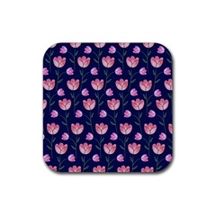 Watercolour Flower Pattern Rubber Square Coaster (4 Pack)  by Nexatart