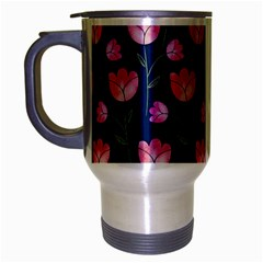 Watercolour Flower Pattern Travel Mug (silver Gray) by Nexatart