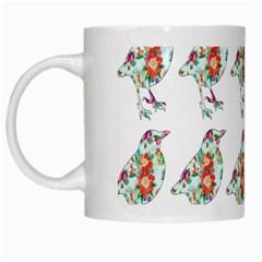 Floral Birds Wallpaper Pattern On White Background White Mugs by Nexatart