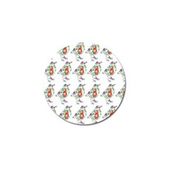 Floral Birds Wallpaper Pattern On White Background Golf Ball Marker (10 Pack) by Nexatart