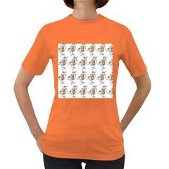 Floral Birds Wallpaper Pattern On White Background Women s Dark T Shirt