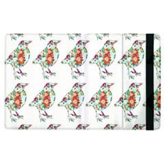 Floral Birds Wallpaper Pattern On White Background Apple Ipad 3/4 Flip Case by Nexatart