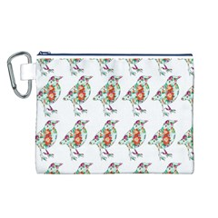 Floral Birds Wallpaper Pattern On White Background Canvas Cosmetic Bag (l) by Nexatart