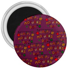 Happy Mothers Day Text Tiling Pattern 3  Magnets by Nexatart