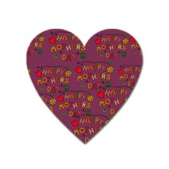 Happy Mothers Day Text Tiling Pattern Heart Magnet by Nexatart