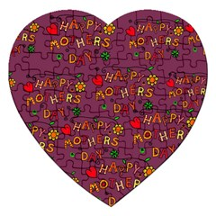 Happy Mothers Day Text Tiling Pattern Jigsaw Puzzle (Heart) by Nexatart