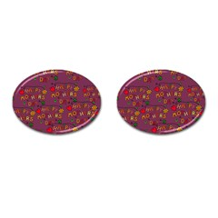 Happy Mothers Day Text Tiling Pattern Cufflinks (oval) by Nexatart