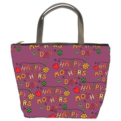 Happy Mothers Day Text Tiling Pattern Bucket Bags by Nexatart