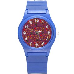 Happy Mothers Day Text Tiling Pattern Round Plastic Sport Watch (s) by Nexatart
