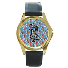 Happy Mothers Day Celebration Round Gold Metal Watch by Nexatart
