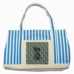 Happy Mothers Day Celebration Striped Blue Tote Bag by Nexatart
