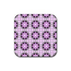 Pretty Pink Floral Purple Seamless Wallpaper Background Rubber Square Coaster (4 Pack)  by Nexatart