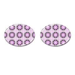 Pretty Pink Floral Purple Seamless Wallpaper Background Cufflinks (oval) by Nexatart
