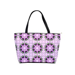 Pretty Pink Floral Purple Seamless Wallpaper Background Shoulder Handbags by Nexatart