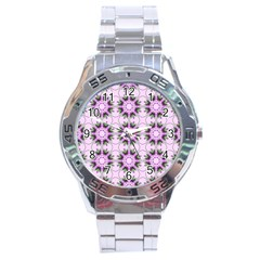 Pretty Pink Floral Purple Seamless Wallpaper Background Stainless Steel Analogue Watch