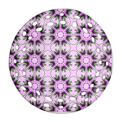 Pretty Pink Floral Purple Seamless Wallpaper Background Round Filigree Ornament (two Sides) by Nexatart