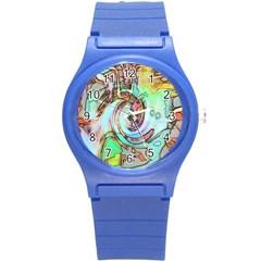 Art Pattern Round Plastic Sport Watch (s) by Nexatart