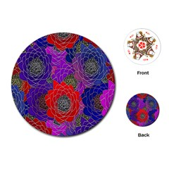 Colorful Background Of Multi Color Floral Pattern Playing Cards (round)  by Nexatart