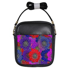 Colorful Background Of Multi Color Floral Pattern Girls Sling Bags by Nexatart