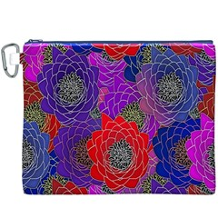 Colorful Background Of Multi Color Floral Pattern Canvas Cosmetic Bag (xxxl) by Nexatart