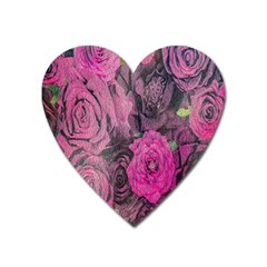 Oil Painting Flowers Background Heart Magnet by Nexatart