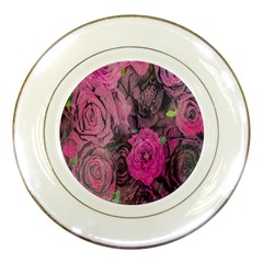 Oil Painting Flowers Background Porcelain Plates by Nexatart