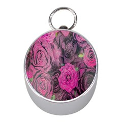 Oil Painting Flowers Background Mini Silver Compasses by Nexatart