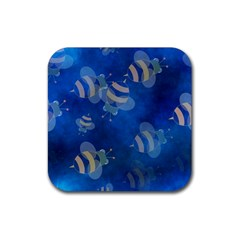 Seamless Bee Tile Cartoon Tilable Design Rubber Square Coaster (4 Pack)  by Nexatart