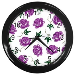 Purple Roses Pattern Wallpaper Background Seamless Design Illustration Wall Clocks (black) by Nexatart