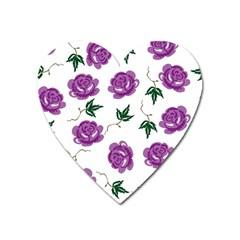 Purple Roses Pattern Wallpaper Background Seamless Design Illustration Heart Magnet by Nexatart