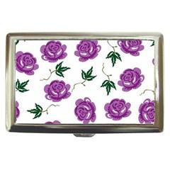 Purple Roses Pattern Wallpaper Background Seamless Design Illustration Cigarette Money Cases by Nexatart