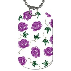 Purple Roses Pattern Wallpaper Background Seamless Design Illustration Dog Tag (two Sides) by Nexatart