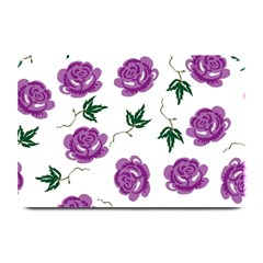 Purple Roses Pattern Wallpaper Background Seamless Design Illustration Plate Mats by Nexatart