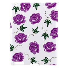 Purple Roses Pattern Wallpaper Background Seamless Design Illustration Apple Ipad 3/4 Hardshell Case by Nexatart