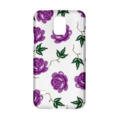 Purple Roses Pattern Wallpaper Background Seamless Design Illustration Samsung Galaxy S5 Hardshell Case  by Nexatart