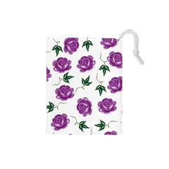 Purple Roses Pattern Wallpaper Background Seamless Design Illustration Drawstring Pouches (small)  by Nexatart