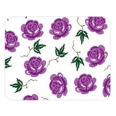 Purple Roses Pattern Wallpaper Background Seamless Design Illustration Double Sided Flano Blanket (Large)