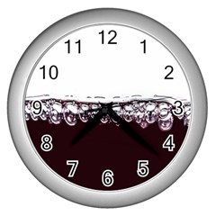 Bubbles In Red Wine Wall Clocks (silver)  by Nexatart