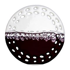 Bubbles In Red Wine Round Filigree Ornament (two Sides) by Nexatart