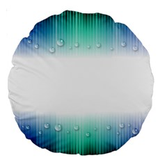 Blue Stripe With Water Droplets Large 18  Premium Round Cushions by Nexatart