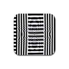 Black And White Abstract Stripped Geometric Background Rubber Square Coaster (4 Pack)  by Nexatart