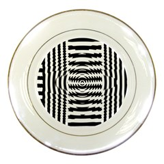 Black And White Abstract Stripped Geometric Background Porcelain Plates by Nexatart