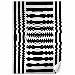 Black And White Abstract Stripped Geometric Background Canvas 20  X 30   by Nexatart