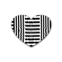 Black And White Abstract Stripped Geometric Background Rubber Coaster (heart)  by Nexatart